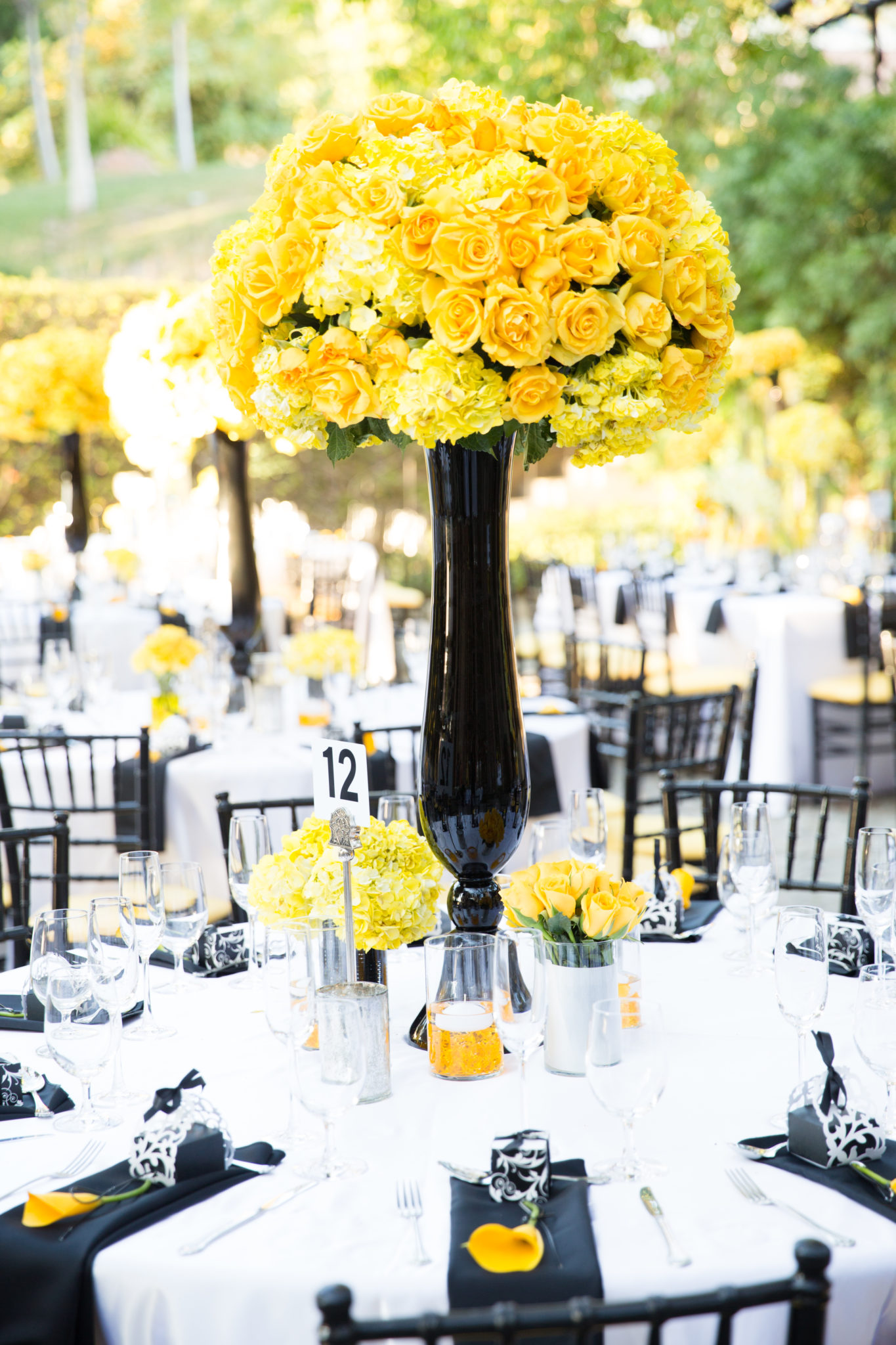 Yellow White Black Theme Wedding After Eight Event